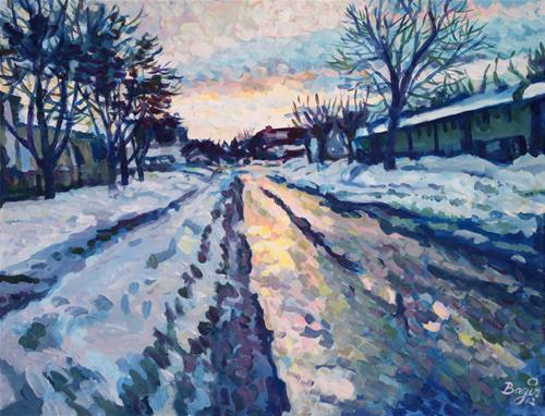 """""""Winter Sunset"""" original fine art by Elbagir Osman"""