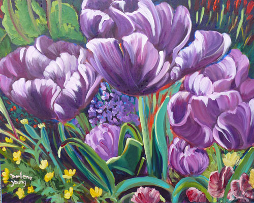 """Parrot Tulips"" original fine art by Darlene Young"