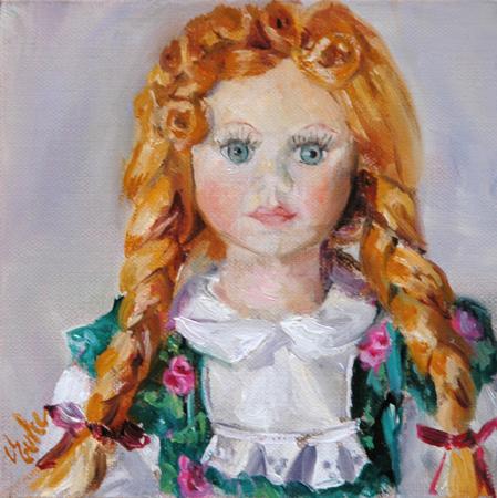 """""""La poupée aux tresses rousses"""" original fine art by Evelyne Heimburger Evhe"""