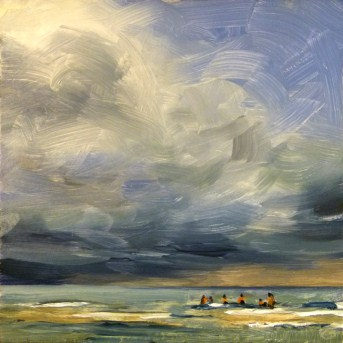 """Oil Painting of Clouds Over the Sandbar"" original fine art by Deb Anderson"