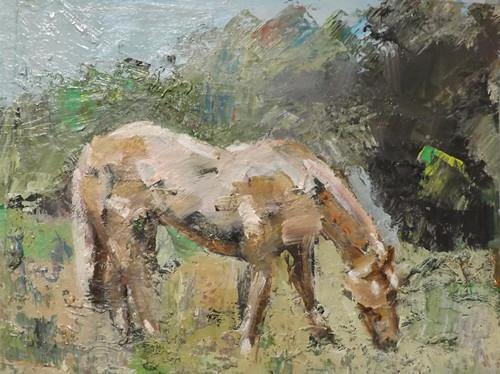 """HORSE, 2"" original fine art by Run-      Zhang Zane"