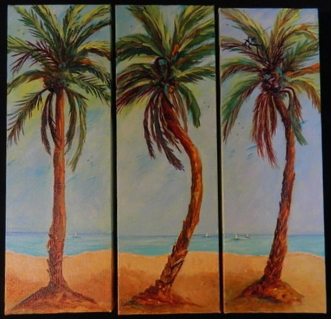 """Palm trees/trip-tic"" original fine art by Gloria Urban"