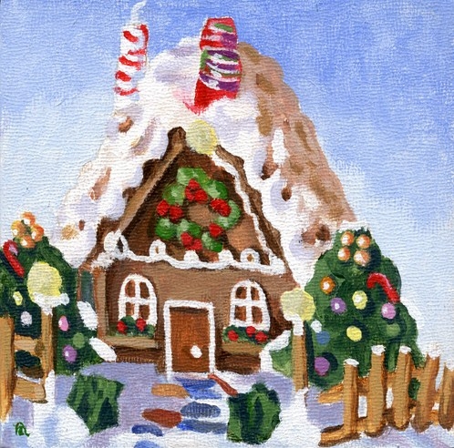 """gingerbread house"" original fine art by Ria Hills"
