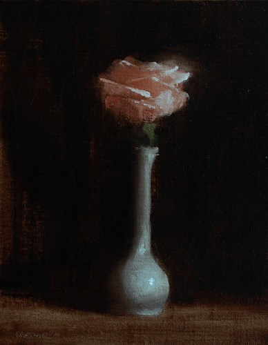 """Rose in Bud Vase"" original fine art by Neil Carroll"