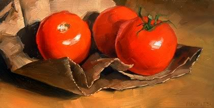 """Paper Bag with Tomatoes"" original fine art by Michael Naples"