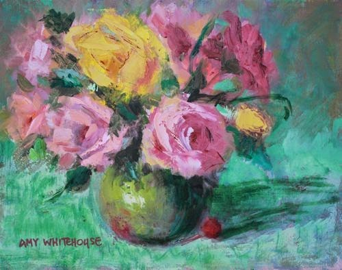 """Summer Floral, Contemporary Floral Paintings by Arizona Artist Amy Whitehouse"" original fine art by Amy Whitehouse"