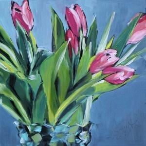 """""""pink tulips"""" original fine art by Kim Smith"""