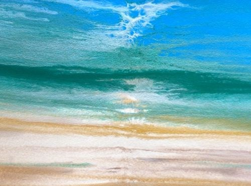 """Contemporary Seascape,Abstract Beach Art, Beach Dreams-Azurean and Green II by Colorado Contempora"" original fine art by Kimberly Conrad"