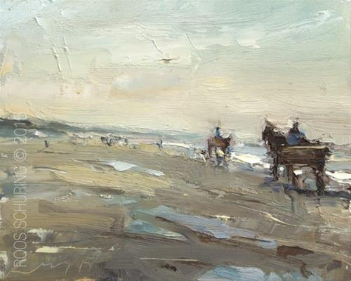 """""""Horse Carriage on the Beach"""" original fine art by Roos Schuring"""