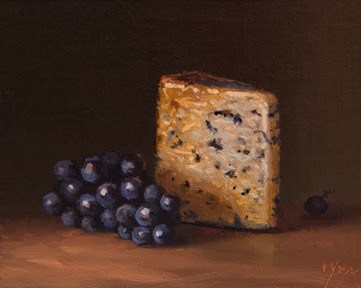 """""""Concord Grapes with Valdeón Blue (Made in Spain)   (+ My Upcoming Travels to Spain)"""" original fine art by Abbey Ryan"""