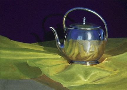 """Art Deco Coffee Pot on Satin"" original fine art by Nance Danforth"