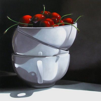 """Cups and Cherries 24x24"" original fine art by M Collier"