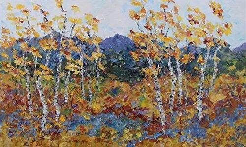 """Palette Knife Aspen Tree Colorado Landscape Painting Mountain Magic- Grande by Colorado Impression"" original fine art by Judith Babcock"