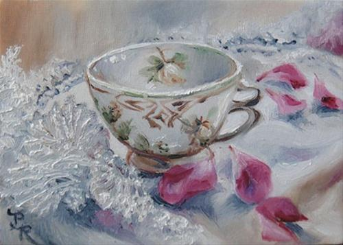 """Teacup, Lace & Rose Petals"" original fine art by Paulie Rollins"