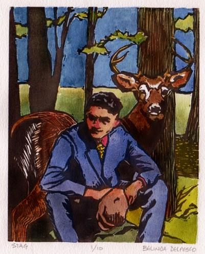 """Linocut: Stag"" original fine art by Belinda Del Pesco"