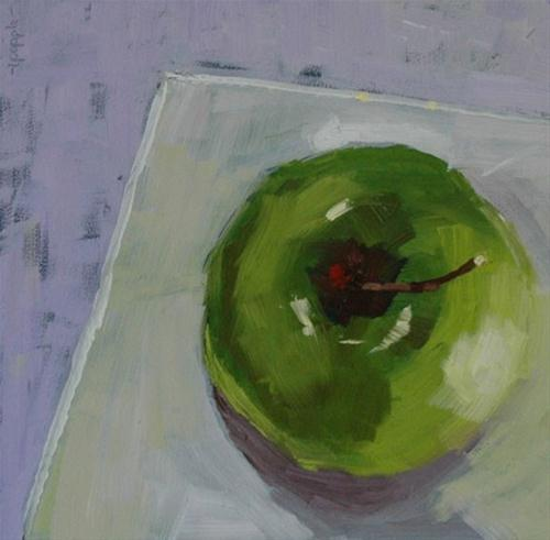 """""""GREEN APPLE STILL LIFE"""" original fine art by Linda Popple"""