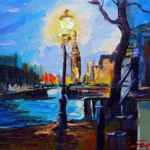 """""""Straßenlaterne von Amsterdam"""" original fine art by Jurij Frey"""