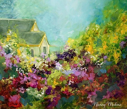 """A New England Cottage Garden Painting and the Story of Flower Mound by Texas Artist Nancy Medina"" original fine art by Nancy Medina"