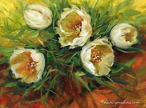 """Winter Garden Tulips - Flower Painting Classes and Workshops by Nancy Medina Art"" original fine art by Nancy Medina"