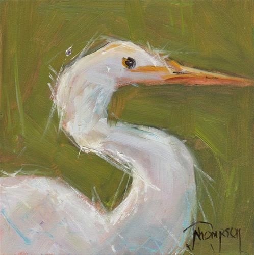"""Proud Egret"" original fine art by Norma Thompson"