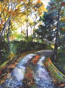 """Road in Autumn"" original fine art by Mariko Irie"