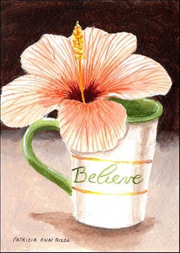 """Peach Hibiscus"" original fine art by Patricia Ann Rizzo"