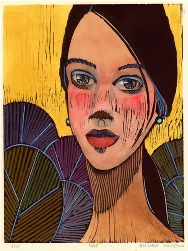 """Woodcut: Lily"" original fine art by Belinda Del Pesco"