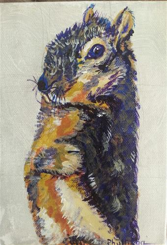 """Blue Squirrel"" original fine art by Phyllisha Hamrick"