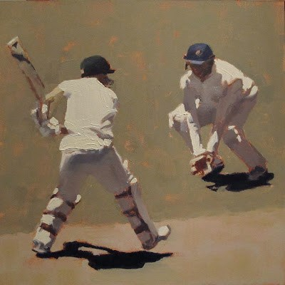 """ON STRIKE - Cricket at the MCG"" original fine art by Helen Cooper"
