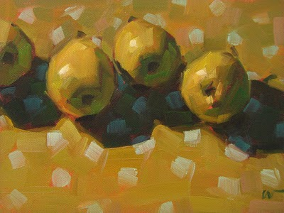 """Pears on Dots --- SOLD"" original fine art by Carol Marine"