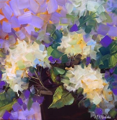 """Deep Purple White Hydrangeas and a Hill Country Workshop"" original fine art by Nancy Medina"