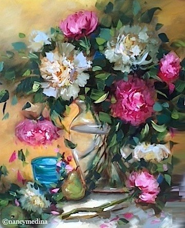 """Summer Rain Peonies - Flower Paintings by Nancy Medina"" original fine art by Nancy Medina"