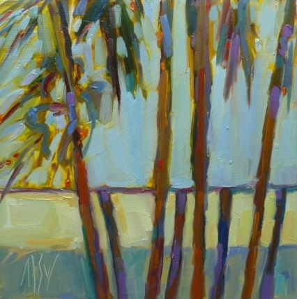 """Sunlit Palms 6x6 oil on panel. These palms stand next to my house and catch the late afternoon sun."" original fine art by Mary Sheehan Winn"