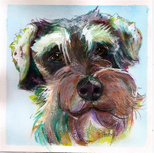 """7x7 Schnauzer Watercolor Dog Puppy Pet Portrait by Penny Lee StewArt"" original fine art by Penny Lee StewArt"