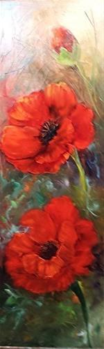 """Red Poppies Three"" original fine art by Barbara Haviland"