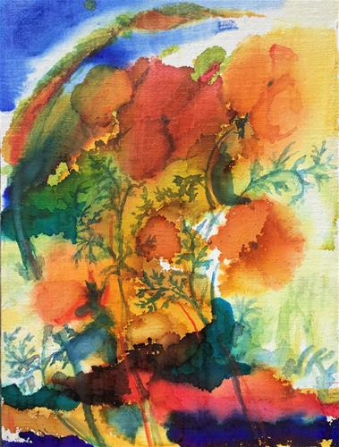 """Golden Poppies"" original fine art by Jean Krueger"