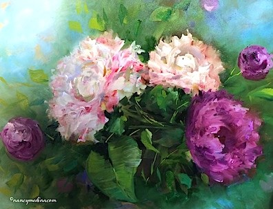 """Petite Garden Pink Peonies - Flower Paintings by Nancy Medina"" original fine art by Nancy Medina"