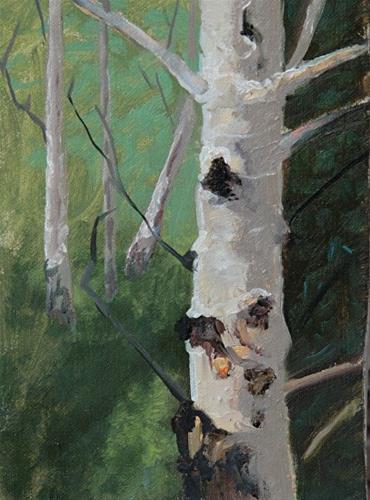 """Original Aspen Tree Landscape  Oil Painting Aspen Trunk Study by Colorado Artist Susan Fowler"" original fine art by Susan Fowler"