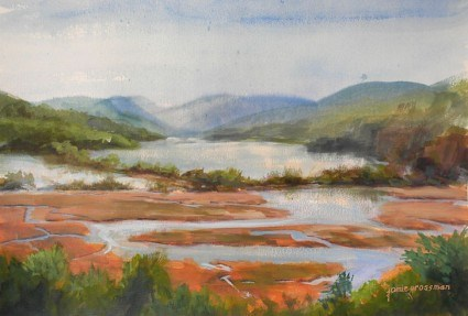 """Marsh Channels on the Hudson River"" original fine art by Jamie Williams Grossman"