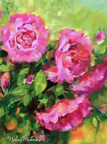 """Pink Roses and Award Winning Gardens of Coronado Island by Floral Artist Nancy Medina"" original fine art by Nancy Medina"