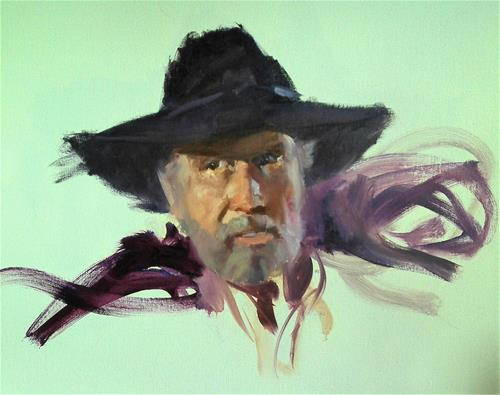 """head sketch of cowboy"" original fine art by Richard Schiele"