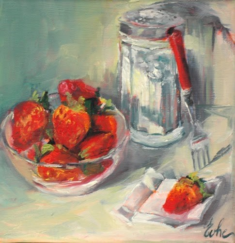 """Fraises au sucre"" original fine art by Evelyne Heimburger Evhe"