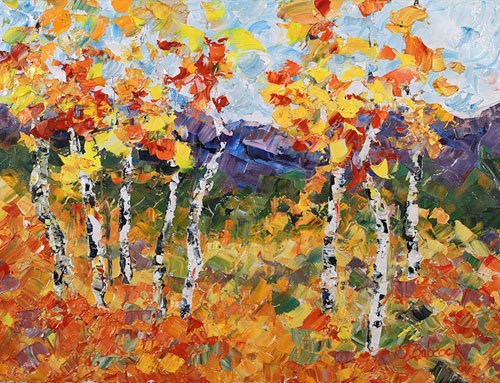 """Palette Knife Impressionism Aspen Tree Landscape Painting Aspen View  by Colorado Impressionist Ju"" original fine art by Judith Babcock"
