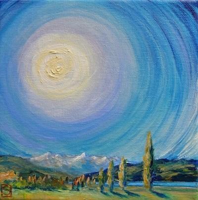 """""""4103 - Sun and Poplars - Miniature Masterpiece Series"""" original fine art by Sea Dean"""