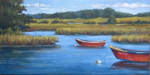 """RED BOATS An Original Plein Air Oil Painting by Claire Beadon Carnell"" original fine art by Claire Beadon Carnell"