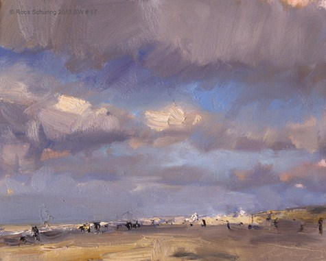 """Seascape winter 17 Clouds showing spring in near"" original fine art by Roos Schuring"
