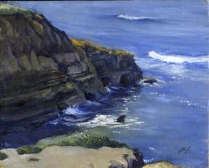 """Sunny Sunset Cliff"" original fine art by Mariko Irie"