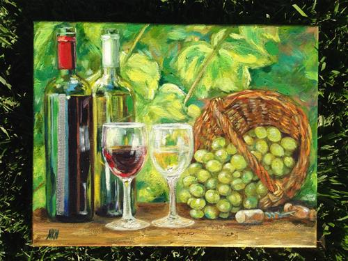 """For the joy of wine"" original fine art by Nina K. Nuanes"