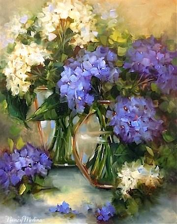 """Two of a Kind Blue Hydrangeas by Texas Flower Artist Nancy Medina"" original fine art by Nancy Medina"