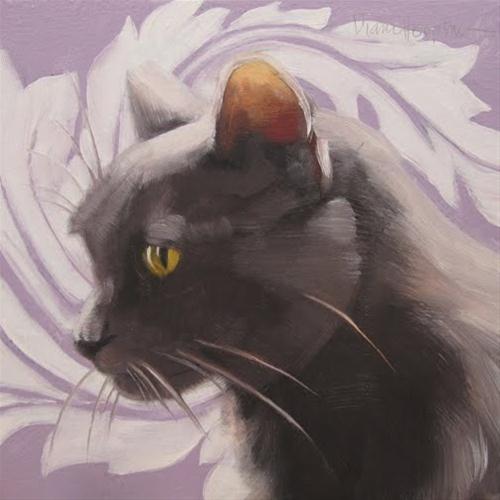 """Purple Swirl Cat small original oil painting"" original fine art by Diane Hoeptner"